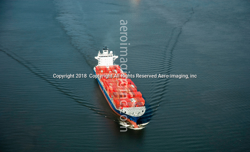 Aerial view of Container Ship, Independent Voyager, Delaware River, outside of Philadelphia