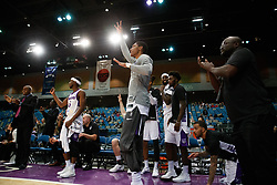 November 19, 2017 - Reno, Nevada, U.S - The Reno Bighorn bench responds to a three point shot on the floor during the NBA G-League Basketball game between the Reno Bighorns and the Long Island Nets at the Reno Events Center in Reno, Nevada. (Credit Image: © Jeff Mulvihill via ZUMA Wire)