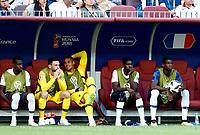 Blaise Matuidi, Hugo Lloris, Alphonse Areola, Samuel Umtiti and Paul Pogba (France) on the bench<br /> Moscow 26-06-2018 Football FIFA World Cup Russia  2018 <br /> Denmark - France / Danimarca - Francia<br /> Foto Matteo Ciambelli/Insidefoto