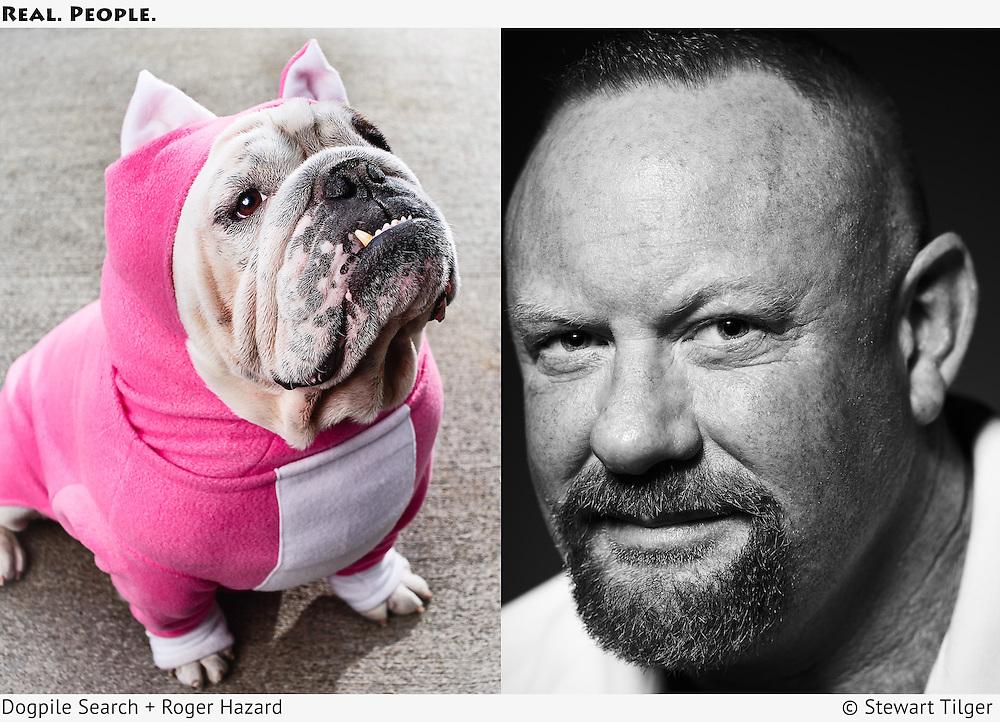Bulldog wearing a pig costume. Portrait of Roger Hazard.
