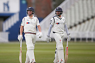 Bas light stops play and the two batsman Yorkshire Jack Leaning and Yorkshire Gary Ballance walk off having both got their 50's during the Specsavers County Champ Div 1 match between Warwickshire County Cricket Club and Yorkshire County Cricket Club at Edgbaston, Birmingham, United Kingdom on 24 April 2016. Photo by Simon Davies.