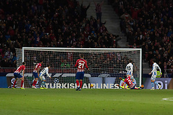 October 27, 2018 - Madrid, Madrid, Spain - The goal of Godin..during the match between Atletico de Madrid vs Real Sociedad. Atletico de Madrid won by 2 to 0 over Real Sociedad whit goals of Godin and Filipe Luis. (Credit Image: © Jorge Gonzalez/Pacific Press via ZUMA Wire)