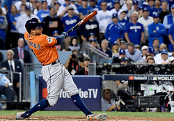 November 1, 2017 - Los Angeles, California, U.S. - Houston Astros' George Springer (4) hits a two run home run in the 2nd inning of game seven of a World Series baseball game at Dodger Stadium on Wednesday Nov. 1, 2017 in Los Angeles. (Photo by Keith Birmingham, Pasadena Star-News/SCNG) (Credit Image: © San Gabriel Valley Tribune via ZUMA Wire)
