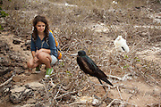 A visitor observes a great frigatebird (Fregata minor) from the trail on Genovesa Island, Galapagos Archipelago - Ecuador. (fully released - 82010EXsP)