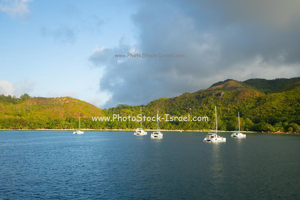 Yachts and sailboats at the Seychelles, Indian Ocean