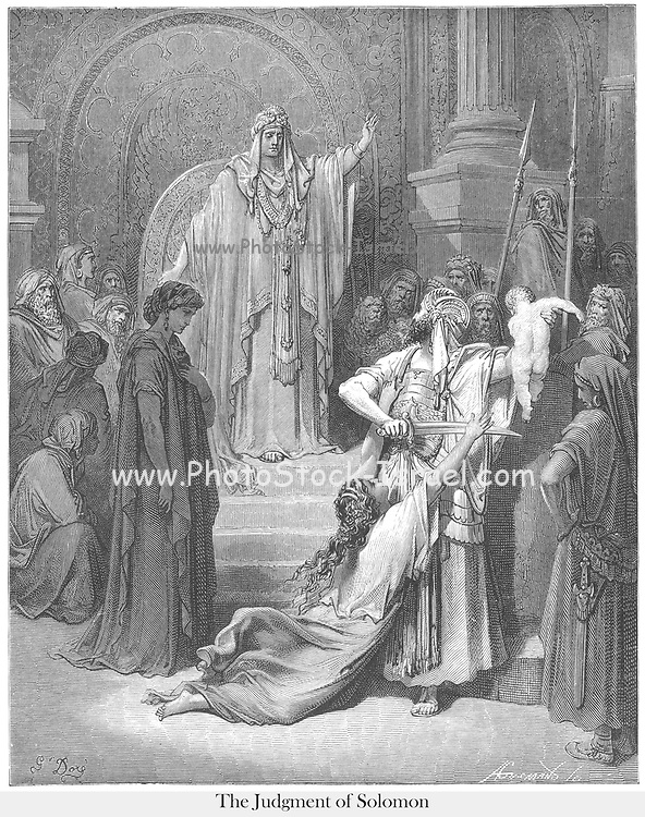 Judgment of Solomon 1 Kings 3:25-27 From the book 'Bible Gallery' Illustrated by Gustave Dore with Memoir of Dore and Descriptive Letter-press by Talbot W. Chambers D.D. Published by Cassell & Company Limited in London and simultaneously by Mame in Tours, France in 1866