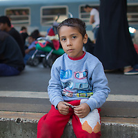 Illegal migrant boy sits on the platform as his family waits to board a train in hopes to leave for Germany at the main railway station Keleti in Budapest, Hungary on September 03, 2015. ATTILA VOLGYI