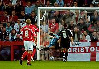 Photo: Ed Godden.<br /> Cheltenham Town v Bristol City. Carling Cup. 22/08/2006.<br /> Steve Guinan (out of picture) scores Cheltenham's first goal.