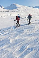 Snowshoeing in White Pass in Northern British Columbia near Whitehorse, Yukon, Canada