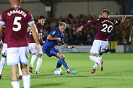 AFC Wimbledon midfielder Mitchell (Mitch) Pinnock (11) dribbling during the EFL Carabao Cup 2nd round match between AFC Wimbledon and West Ham United at the Cherry Red Records Stadium, Kingston, England on 28 August 2018.