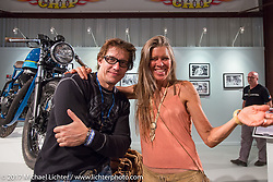Earl LeVere and Betsy HuelskampOld Iron - Young Blood exhibition media and industry reception in the Motorcycles as Art gallery at the Buffalo Chip during the annual Sturgis Black Hills Motorcycle Rally. Sturgis, SD. USA. Sunday August 6, 2017. Photography ©2017 Michael Lichter.