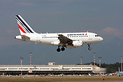 F-GUGC Airfrance Airbus A318 passenger jet at takeoff Photographed at Malpensa Airport, Milan, Italy