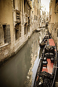 Gondolas and canal, Venice, Veneto, Italy