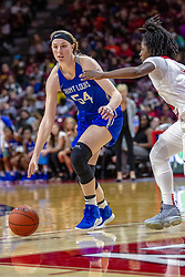 NORMAL, IL - December 20: Evan Zars defnded by Te Te Maggett during a college women's basketball game between the ISU Redbirds and the St. Louis Billikens on December 20 2018 at Redbird Arena in Normal, IL. (Photo by Alan Look)
