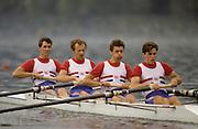Bled, Slovenia, YUGOSLAVIA. GBR LM4-. Bow. Nick STRANGE, Nick HOWE, Robin WILLIAMS and Stuart FORBES, 1989 World Rowing Championships, Lake Bled. [Mandatory Credit. Peter Spurrier/Intersport Images]