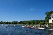 Henley. Berks, United Kingdom.  Heat of the women's Eight pass the Folly, Temple Island<br /> <br /> 2017 Henley' Women's Regatta. Rowing on, Henley Reach. River Thames. <br /> <br /> <br /> Saturday  17/06/2017<br /> <br /> <br /> [Mandatory Credit Peter SPURRIER/Intersport Images]