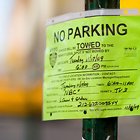 No Parking sign along a New York City street close for the fiming of a NBC episode of Law & Order.