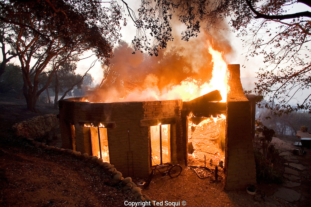 Wild fire burns over 100 home in the Montecito area of Santa Barbara. Many of the luxury homes are worth several million dollars and the Montecito area is often referred to as California's Rivera.