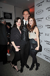 Left to right, CLAIRE FOY, TOM HIDDLESTON and JULIET OLDFIELD at the TOD'S Art Plus Drama Party at the Whitechapel Gallery, London on 24th March 2011.