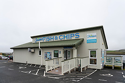 Frankie's Fish and Chips restaurant and takeaway in Brae , Shetland, the UK's most northerly fish and chips restaurant. Scotland, UK