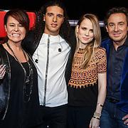 NLD/Hilversum/20131107- The Voice of Holland 1e live uitzending, coaches en juryleden Trijntje Oosterhuis, Ali B., Ilse de Lange en Marco Borsato