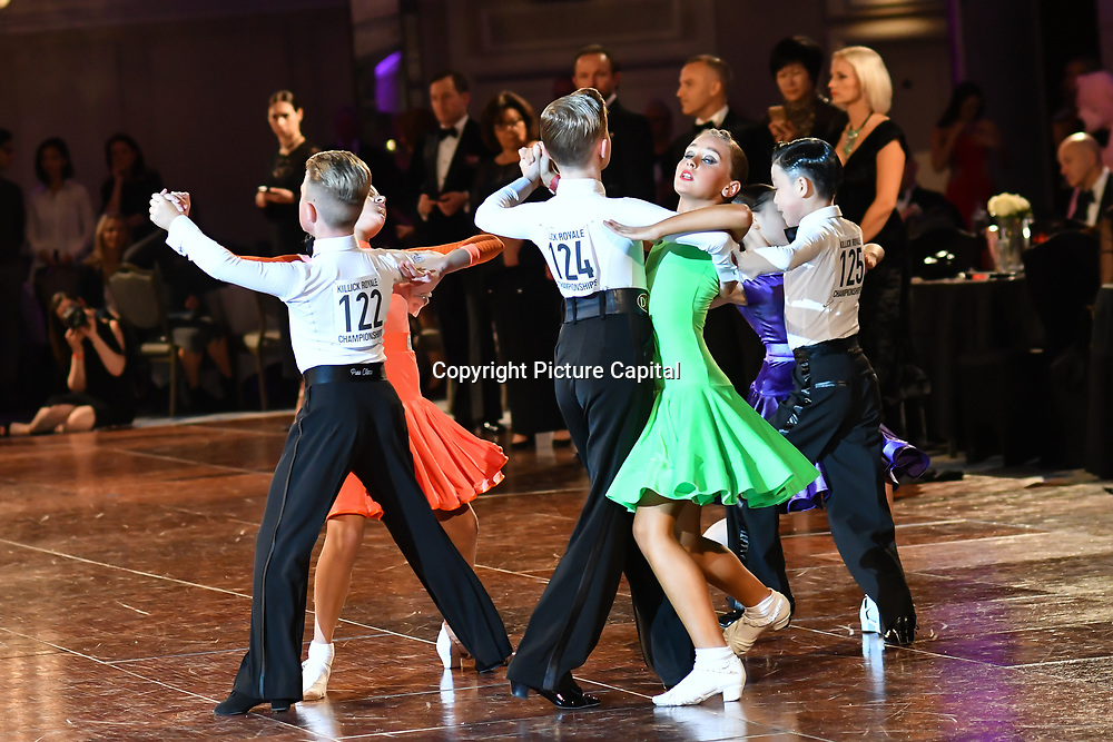 Nathan Storey of Strictly School Dancing Ltd and Olivia Smorga of Nice n Easy - Dance Studios in Bournemouth winner of the Paul Killick - Killick Royale Championships 2018 at The Grosvenor House Hotel, London, UK. 7 October 2018.