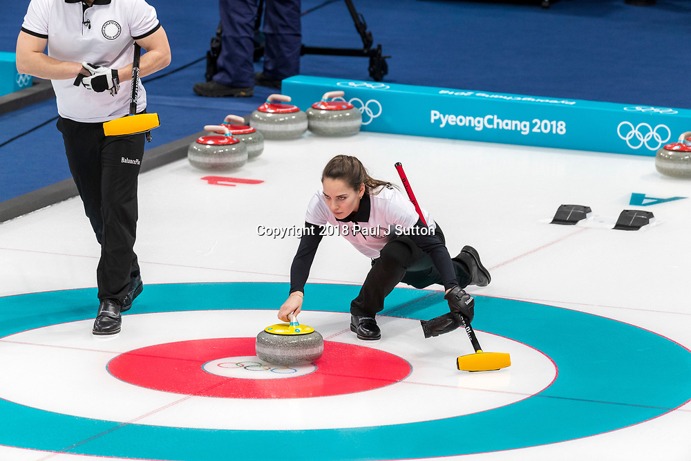 Anastasia BRYZGALOVA  and Aleksandr KRUSHELNITCKII  (OAR) competing in the Mixed Doubles Curling round robin at the Olympic Winter Games PyeongChang 2018