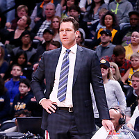 09 March 2018: Los Angeles Lakers head coach Luke Walton is seen during the Denver Nuggets125-116 victory over the Los Angeles Lakers, at the Pepsi Center, Denver, Colorado, USA.