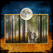 Photo of an older couple wrapped in coats strolling in the forest through the light fog of the morning, framed in yellow. The matting is composed of a golden sandy texture on the bottom and a starry night sky above. Centered over the top of the frame is a large silver full moon.