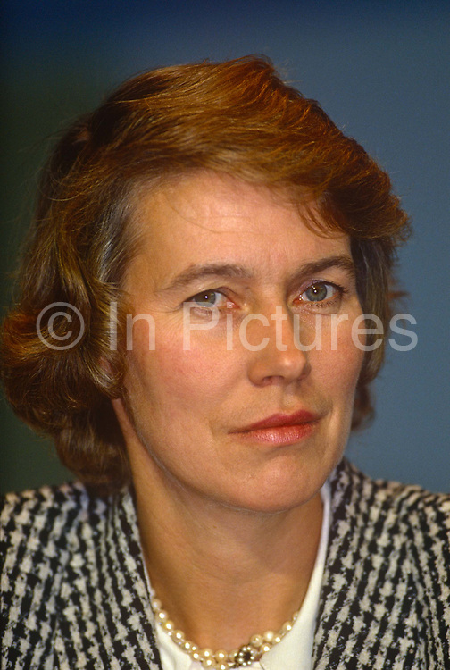 Minister of State for Health and Conservative MP, Virginia Bottomley at the Conservative party conference on 11th October 1990 in Blackpool, England. Virginia Hilda Brunette Maxwell Bottomley, Baroness Bottomley of Nettlestone, PC, DL née Garnett, born 12 March 1948 is a British Conservative Party politician. She was a Member of Parliament MP in the House of Commons from 1984 to 2005. She was raised to the peerage in 2005.