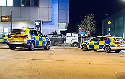 © Licensed to London News Pictures. 26/09/2018. Basildon, UK. Police at the scene at Basildon Hospital in Essex where a 19 year old male was take  after being shot in Tilbury earlier this evening. The male is being treated for a gunshot wound to the stomach and is currently in a serious condition. Photo Credit Simon Ford/LNP