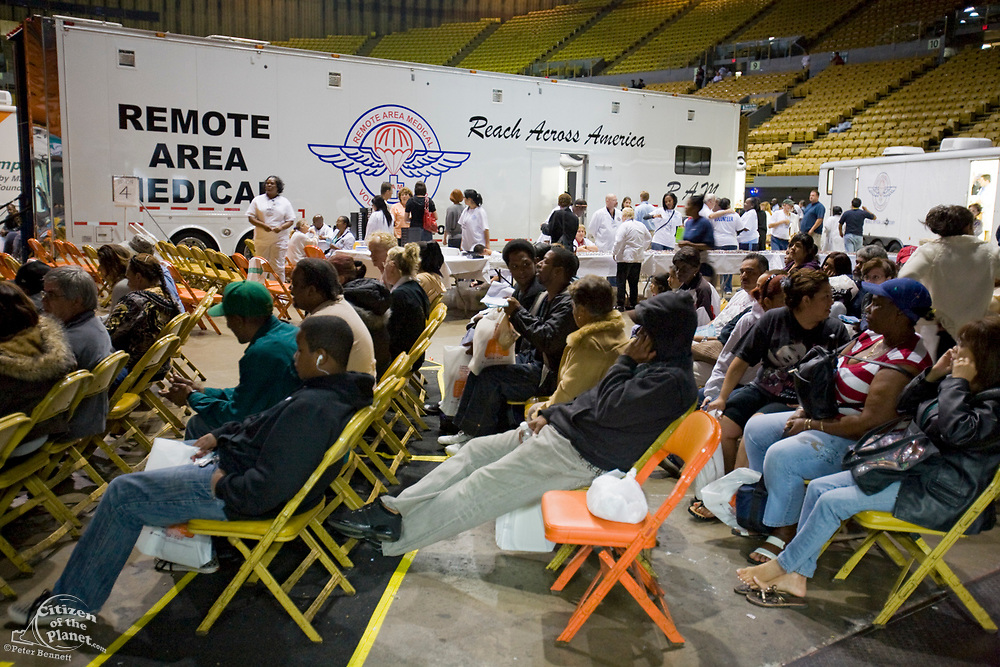 Free Medical care at the Los Angeles Forum. Remote Area Medical Volunteer Corps (RAM) is a Knoxville, Tennessee-based, non-profit, volunteer, medical relief corps that provides free health to people in the United States and third world countries. Inglewood, Los Angeles, California ,USA