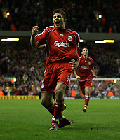Photo: Paul Thomas.<br /> Liverpool v Middlesbrough. The Barclays Premiership. 18/04/2007.<br /> <br /> Steven Gerrard of Liverpool celebrates his goal.