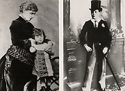 Photographs of Winston Spencer Churchill (1874-1965) British statesman. Churchill, aged 4, full-length, standing, held by his mother, Lady Randolph Churchill.  Churchill at 12, in  uniform of Harrow School, England.