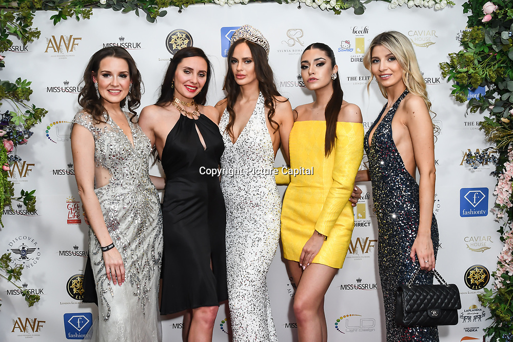 Julia Titova, Roksana Slyahtitch, Julia Sinitsina and guests attend the Grand Final MISS USSR UK 2019 at Hilton hotel London on 27 April 2019, London, UK.