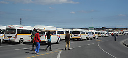 South Africa - Cape Town - 15 September 2020  - Empty Taxi's on Mew Way road leading into Khayelitsha. Dozens of drivers believed to be affiliated to CODETA parked their vehicles on Mew Way. Police and Law Enforcement were on the scene. CODETA and CATA are involved in an ongoing fight over taxi routes. Bellville Taxi rank has been closed several times in the last two weeks because of tension between the two groups.Picture: Henk Kruger/African News Agency (ANA)
