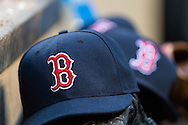 A close up view of a Boston Red Sox hat during a game against the Minnesota Twins on May 17, 2013 at Target Field in Minneapolis, Minnesota.  The Red Sox defeated the Twins 3 to 2.  Photo: Ben Krause