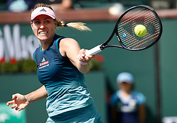 March 9, 2019 - Indian Wells, CA, U.S. - INDIAN WELLS, CA - MARCH 09: Angelique Kerber (GER) hits a forehand during the second round of the BNP Paribas Open on March 09, 2019, at the Indian Wells Tennis Gardens in Indian Wells, CA. (Photo by Adam Davis/Icon Sportswire) (Credit Image: © Adam Davis/Icon SMI via ZUMA Press)