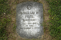 31 August 2017:   Veterans graves in Park Hill Cemetery in eastern McLean County.<br /> <br /> William B Peel Kentucky Private 124 INF 31 DIV December 8 1938
