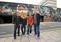 © Licensed to London News Pictures. 13/07/2012. Bristol, UK. Press launch of the See No Evil event, from 13-19 August when international urban artists work on buildings in Bristol's Nelson Street.  The See No Evil team pictured in front of last year's work left-right:  Tom Paine creative producer, Mike Bennett director, Dave Harvey creative producer, artist Inkie curator. 13 July 2012..Photo credit : Simon Chapman/LNP
