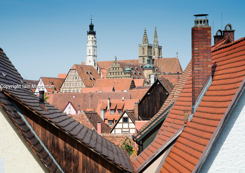 View over rooftops at Rothenburg ob der Tauber medieval town in Bavaria Germany