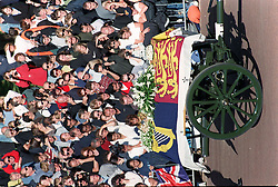The coffin of Diana, Princess of Wales  lies on a gun carriage  as it passes Hyde Park, on its way to Westminster Abbey today (Saturday).