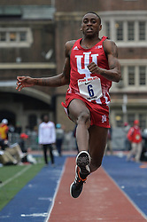 April 27, 2018 - Philadelphia, Pennsylvania, U.S - TREYTON HARRIS (6) from the University of Indiana competes in the Long Jump Championships during the meet held in Franklin Field in Philadelphia, Pennsylvania. (Credit Image: © Amy Sanderson via ZUMA Wire)