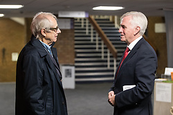 © Licensed to London News Pictures . 25/09/2017. Brighton, UK. Shadow chancellor JOHN MCDONNELL (r) talking to KEN LOACH (l) at The Labour Party Conference at The Brighton Centre . Photo credit: Joel Goodman/LNP