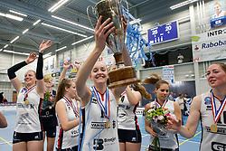 20190424 NED: Sliedrecht Sport - VC Sneek: Sliedrecht<br /> Sliedrecht Sport Nederlands Kampioen Volleybal Seizoen 2018 - 2019, Denise de Kant (12) of Sliedrecht Sport <br /> ©2019-FotoHoogendoorn.nl / Pim Waslander