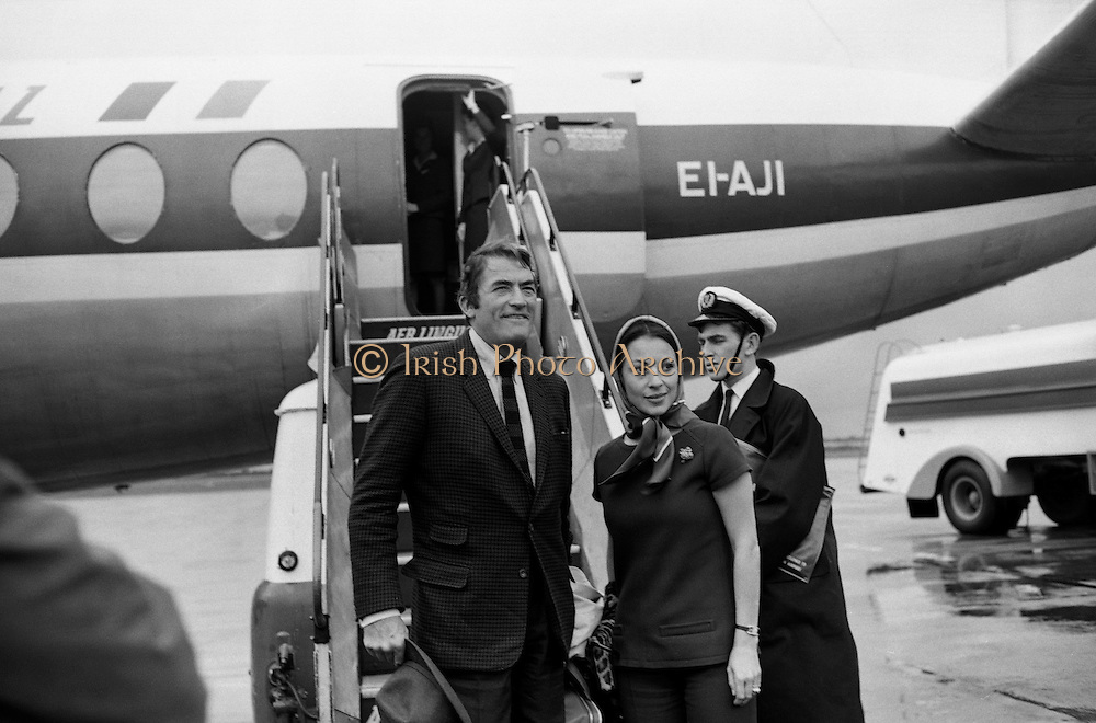 Popular film star Gregory Peck, and his wife, Veronique, arrive for a short holiday in Kerry. The actor's paternal  grandmother, Catherine Ashe, was related to Thomas Ashe, from Lispole, Co Kerry, who took part in the Easter Rising and died while on hunger strike in 1917. .20.09.1968