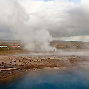 Geysers and Hot Springs at Haukadalur geothermal area in Iceland
