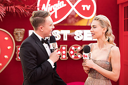 EDITORIAL USE ONLY<br /> BAFTA winner Vanessa Kirby spills the beans to Virgin TV's red-carpet host Roman Kemp in Virgin TV's Must-See Moment Lounge at the Virgin TV British Academy Television Awards.