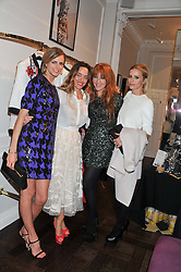 Left to right, JACQUETTA WHEELER, ALICE TEMPERLEY, CHARLOTTE TILBURY and LAURA BAILEY at the Frocks and Rocks party hosted by Alice Temperley and Jade Jagger at Temperley, Bruton Street, London on 25th April 2013.
