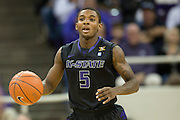 FORT WORTH, TX - JANUARY 7: Jevon Thomas #5 of the Kansas State Wildcats brings the ball up court against the TCU Horned Frogs on January 7, 2014 at Daniel-Meyer Coliseum in Fort Worth, Texas.  (Photo by Cooper Neill/Getty Images) *** Local Caption *** Jevon Thomas